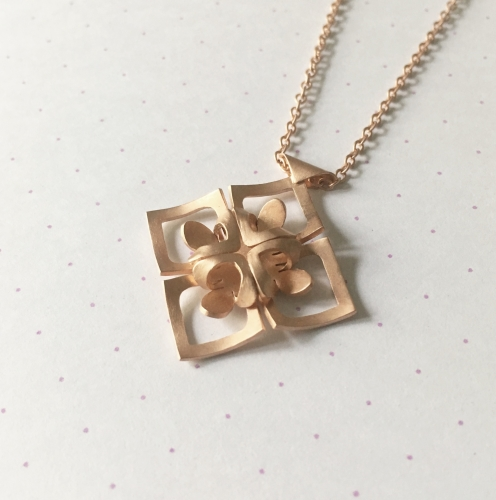 Rhombus Necklace, rose gold plate