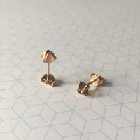 Geometric Bud Studs, rose gold plate