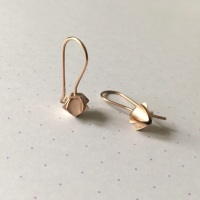 Geometric Bud Drop Earrings, rose gold plate