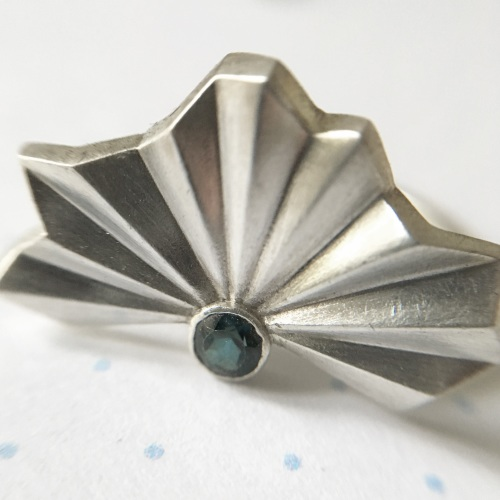 Pleated Silver Fan Ring with London Blue Topaz, size M1/2