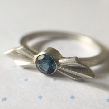 Pleated Silver Bow Ring with London Blue Topaz, size L