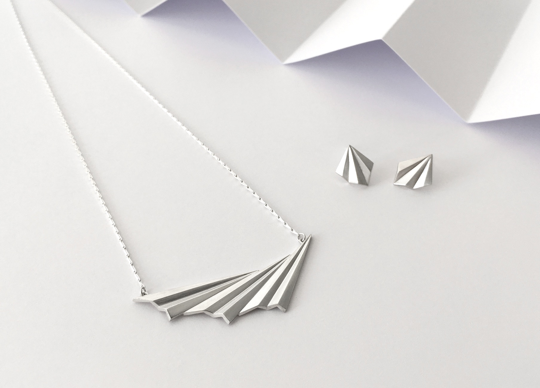 Pleated Wave Necklace & Studs by Alice Barnes