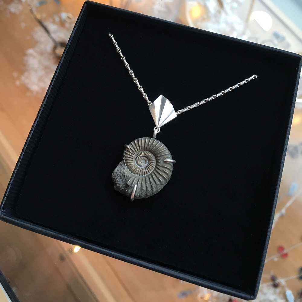 Pleated Ammonite Necklace by Alice Barnes