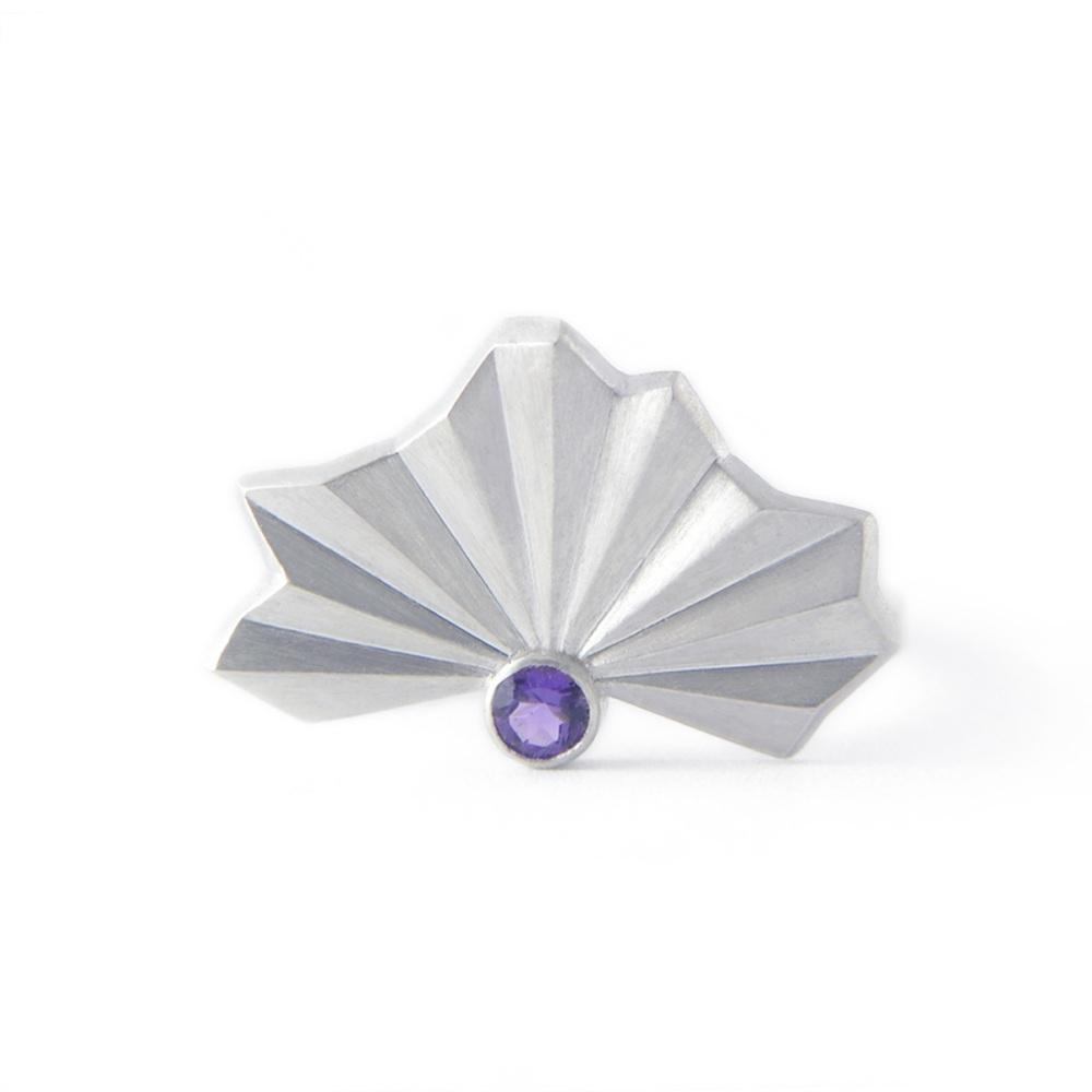 Stone Set Pleated Silver Fan Ring