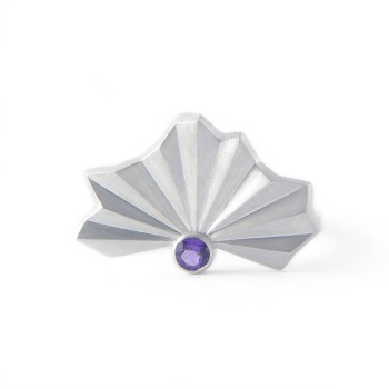 Stone Set Pleated Silver Fan Ring
