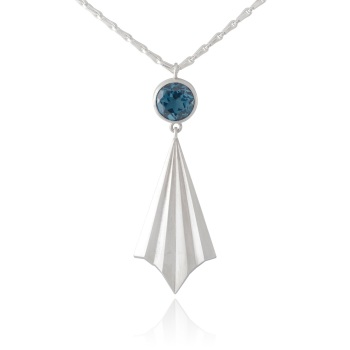 Pleated Silver Ray Necklace