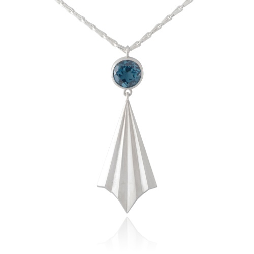 Pleated Ray Necklace with London Blue Topaz by Alice Barnes
