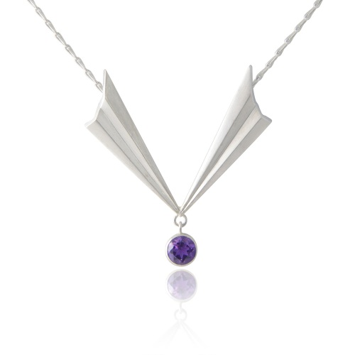 Pleated V Necklace with Amethyst, Alice Barnes