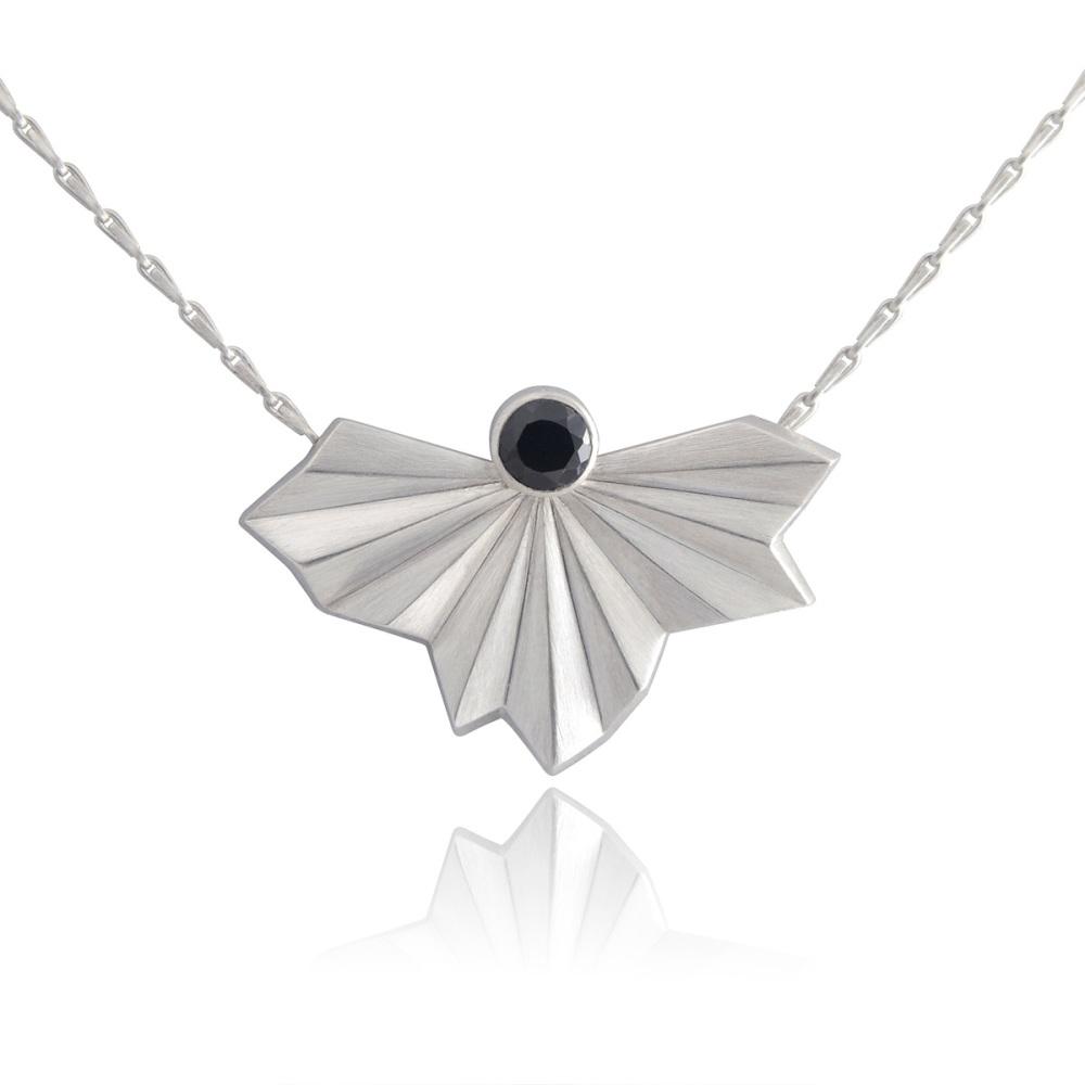 Stone Set Pleated Silver Fan Necklace