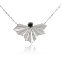Stone Set Pleated Silver Fan Necklace