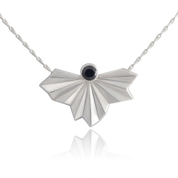 Stone Set Pleated Fan Necklace