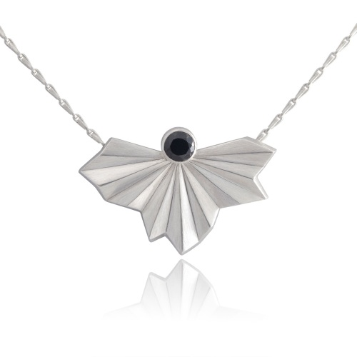 Stone Set Pleated Fan Necklace by Alice Barnes