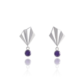 Pleated Silver Glimmer Studs