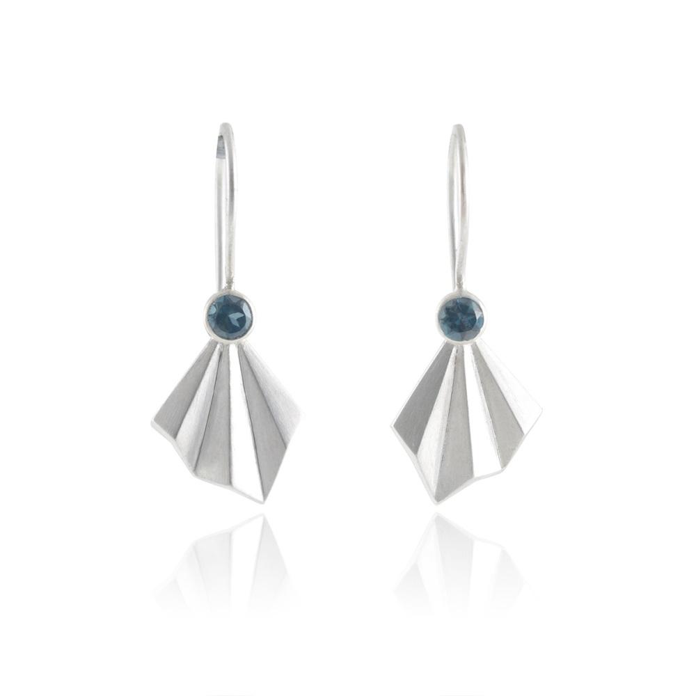 Pleated Silver Flare Earrings
