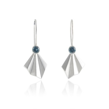 Pleated Silver Flare Earrings