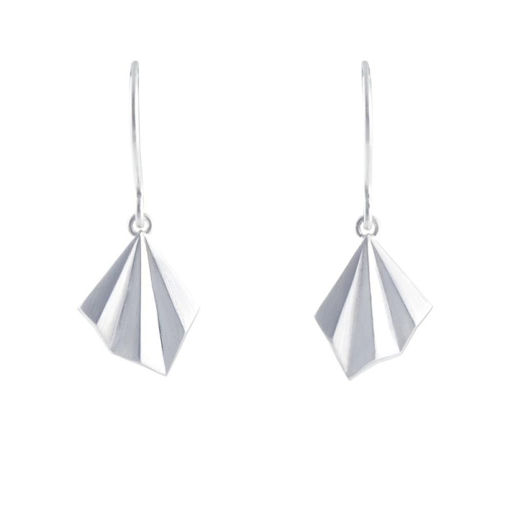 Pleated Silver Hook Earrings