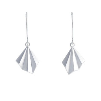 Pleated Silver Hook Earrings