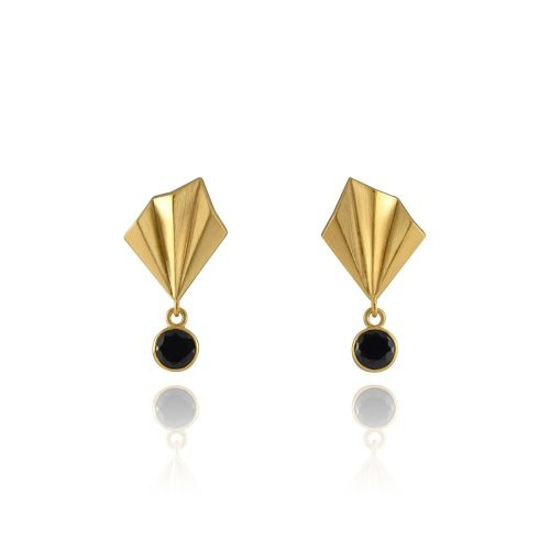 Pleated Glimmer Studs, gold vermeil
