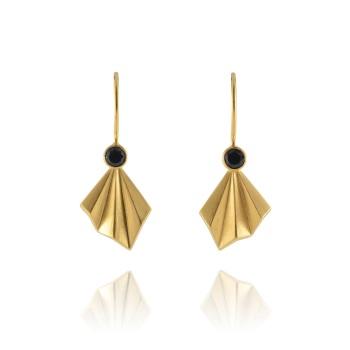 Pleated Gold Vermeil Flare Earrings