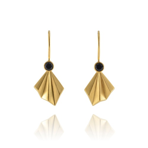 Pleated Gold Vermeil Flare Earrings