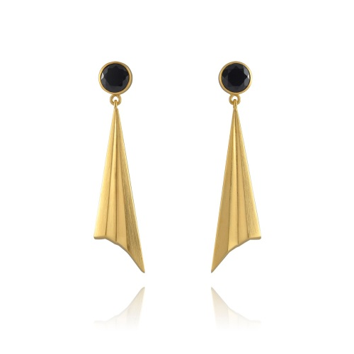 Pleated Gold Vermeil Sunbeam Studs
