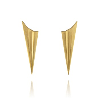 Pleated Gold Vermeil Long Studs