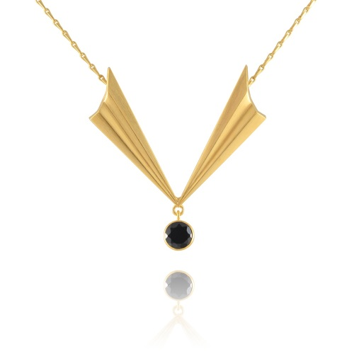 Pleated Gold Vermeil V Necklace