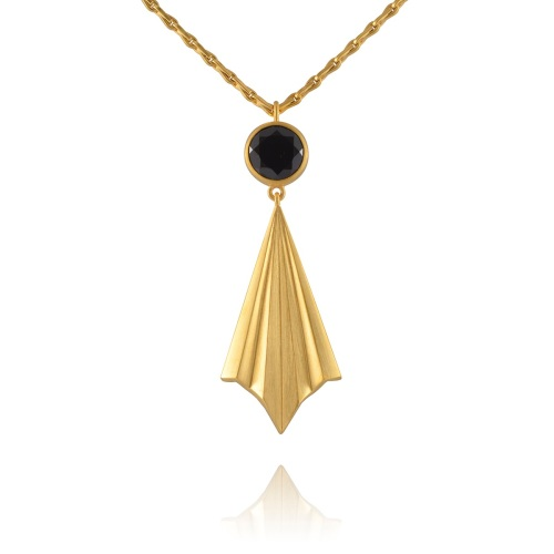 Pleated Gold Vermeil Ray Necklace by Alice Barnes
