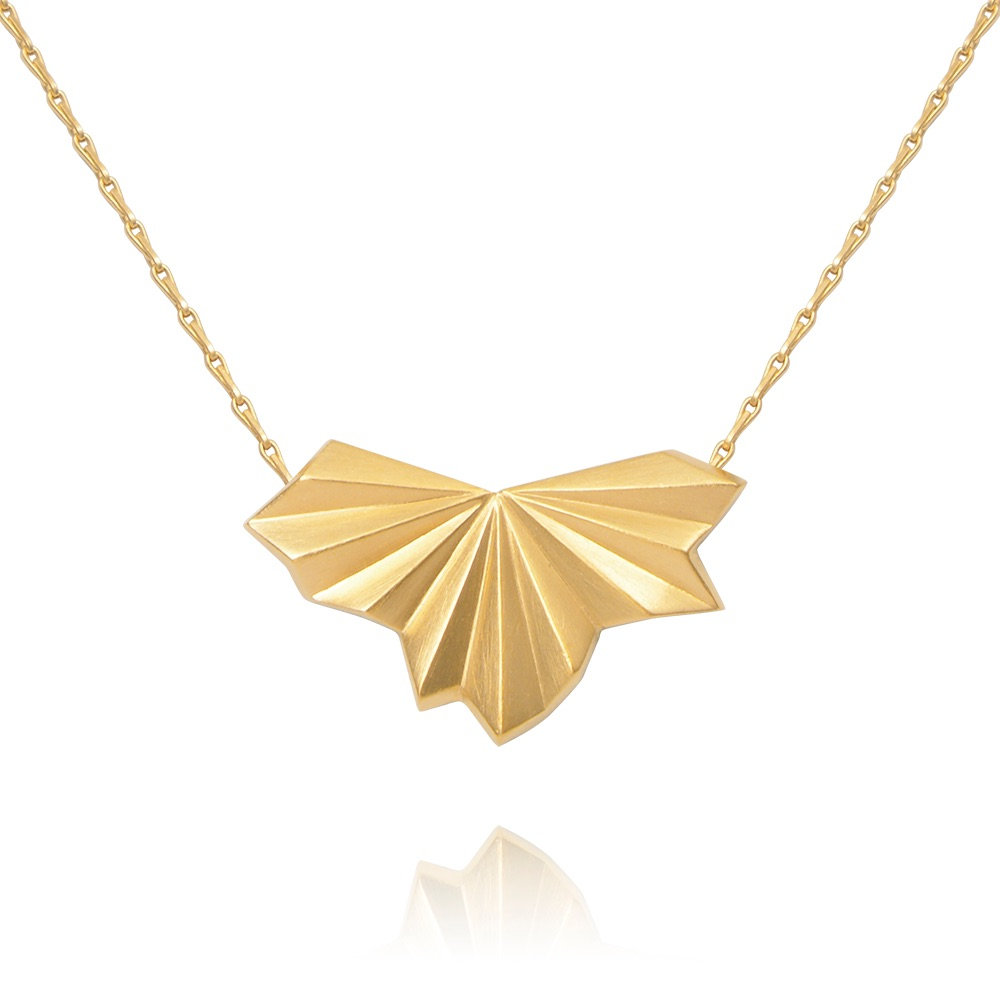 Pleated Gold Vermeil Fan Necklace by Alice Barnes