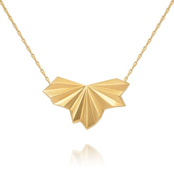 Pleated Gold Vermeil Fan Necklace