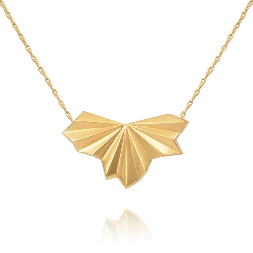 Pleated Gold Vermeil Fan Necklace by Alice Barnes