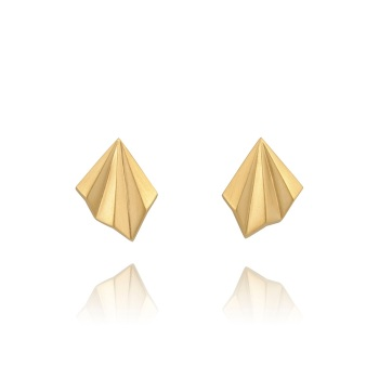 Pleated Gold Vermeil Studs