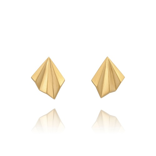 Pleated Gold Vermeil Studs by Alice Barnes