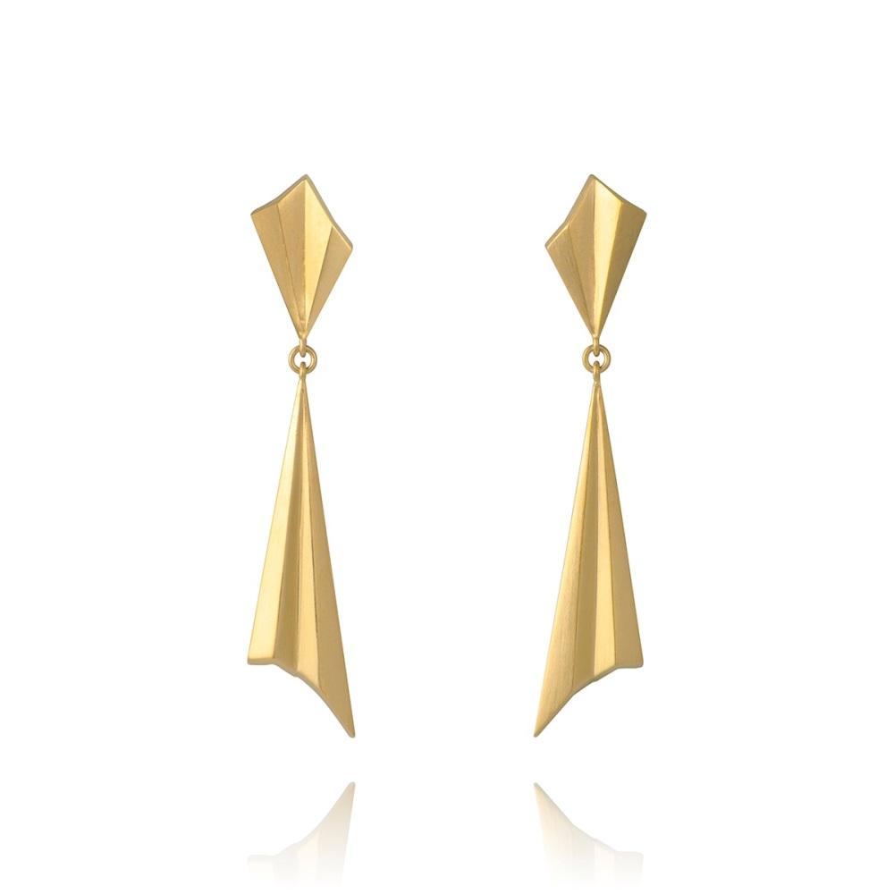 Pleated Gold Vermeil Drop Earrings