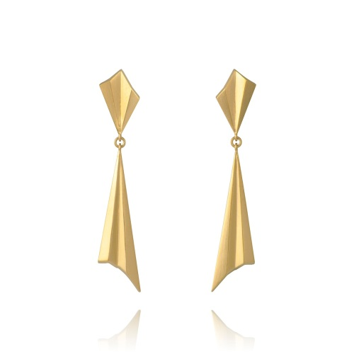 Pleated Gold Vermeil Drop Earrings by Alice Barnes