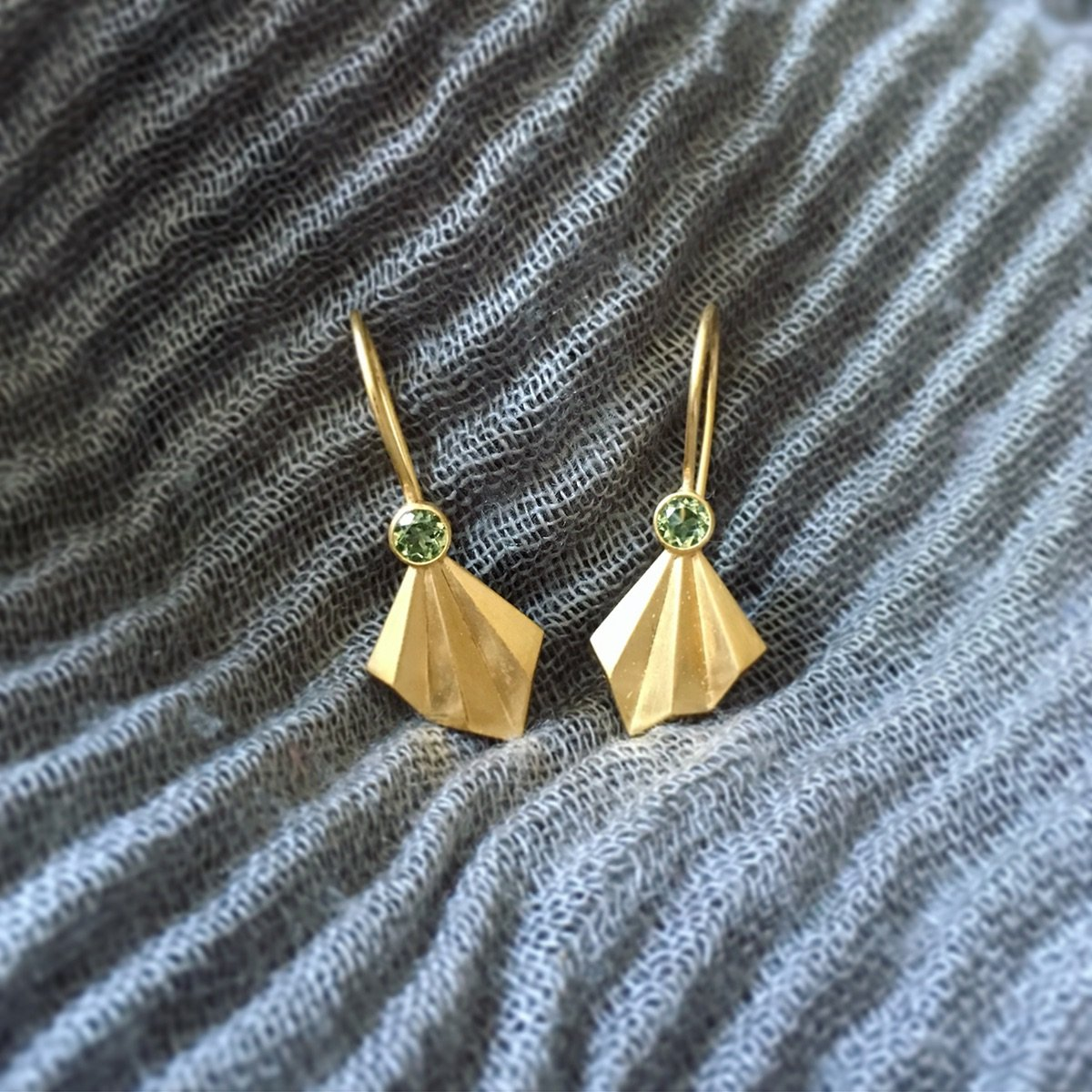 Pleated Flare Earrings, gold vermeil with ethically sourced peridots by Alice Barnes