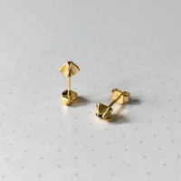 Geometric Bud Studs, yellow gold plate