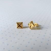 Quad Stud Earrings, yellow gold plate