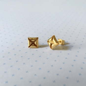 Quad Stud Earrings, yellow gold plate