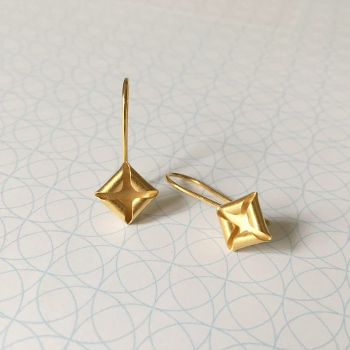 Quad Drop Earrings, yellow gold plate