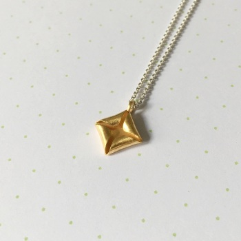 Quad Necklace, yellow gold plate