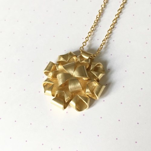 Geometric Rose Necklace, yellow gold plate
