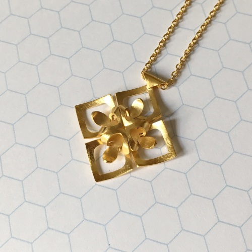 Rhombus Necklace, yellow gold plate