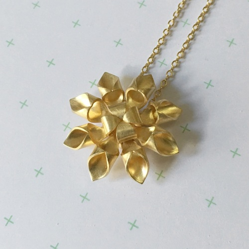Octagram Necklace, yellow gold plate