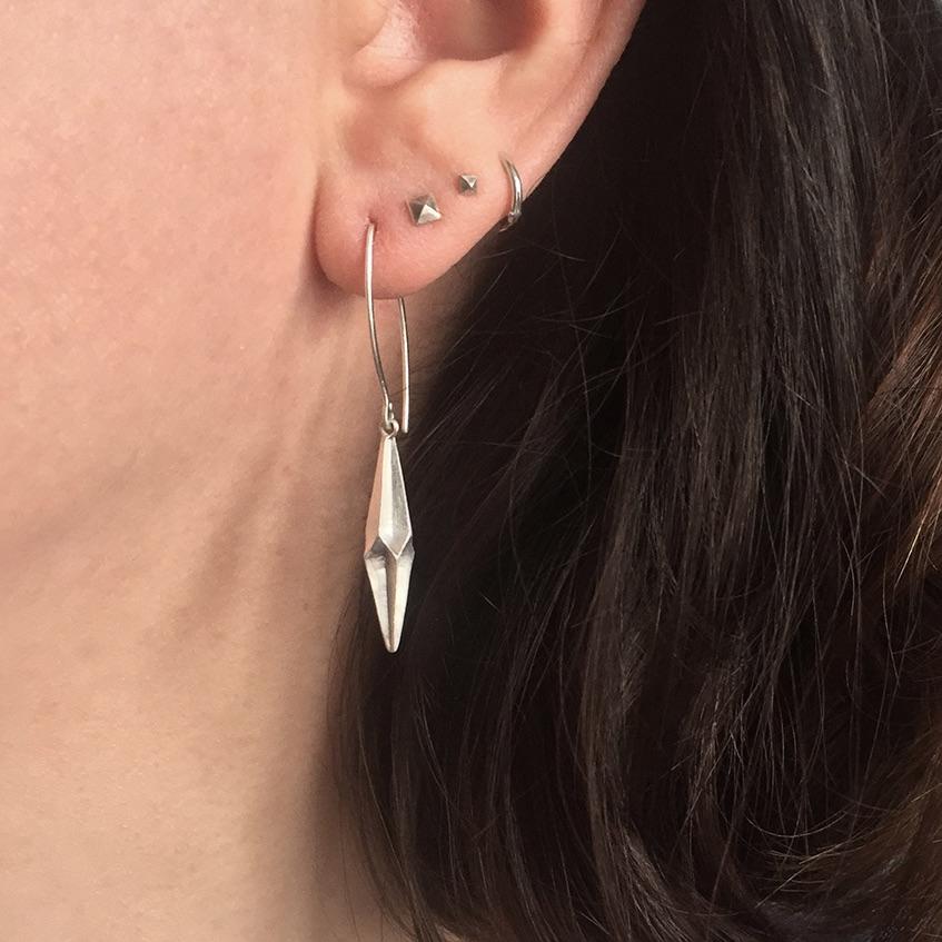 Shard Earrings being worn