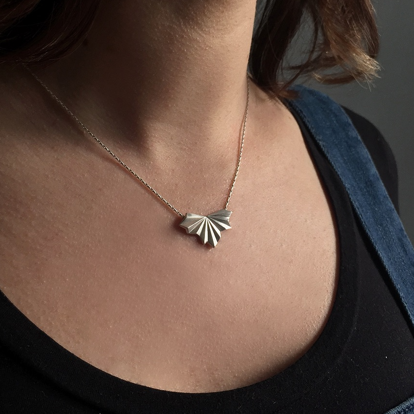 Pleated Fan Necklace