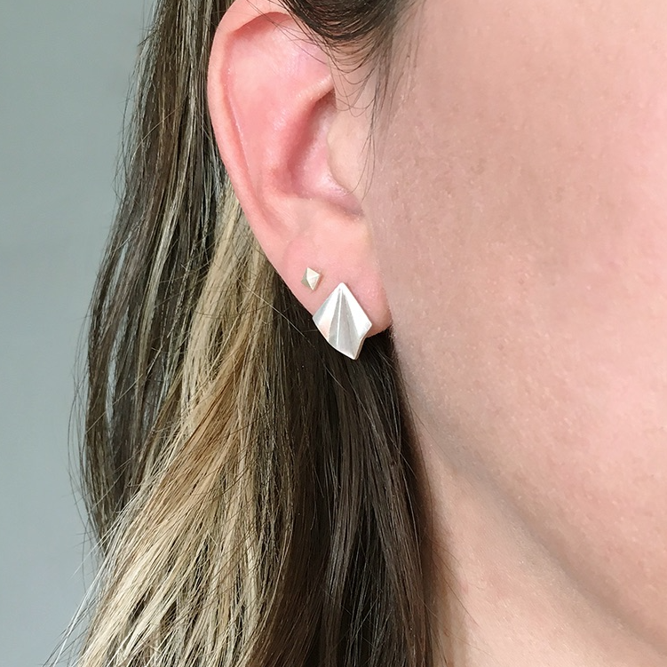 Pleated Silver Studs