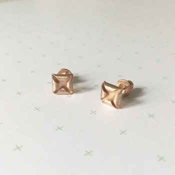 Quad Stud Earrings, rose gold plate