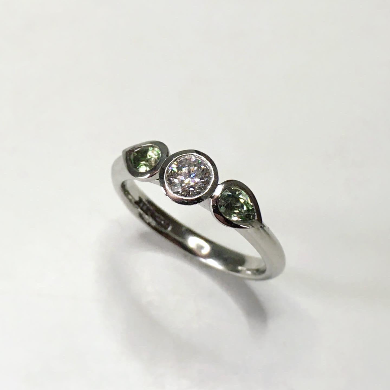 Diamond & Green Sapphire Engagement Ring