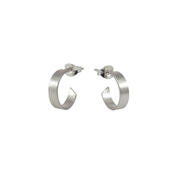 Folded Silver Small Hoops
